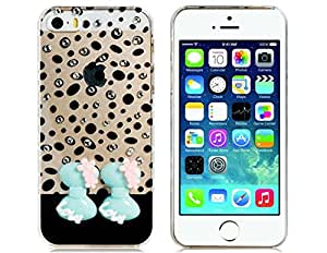 Gorgeous Crystal Rhinestone Decorated Bowknot Pattern Plastic Back Cover Case for iPhone 5/5S (Black)