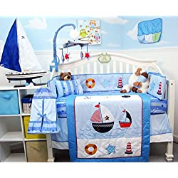 SoHo Ship Ahoy Nautical Baby Crib Nursery Bedding Set 14 pieces sail boat, lighthouse