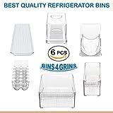 Stackable Bins Kitchen Storage Containers Refrigerator Organizer 6 pc Set Bins 4 Grins