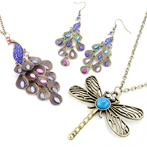 JewelrieShop Lady Assorted Classic Vintage-Looking Bronze Dragonfly Floral Long Chain Pendant Necklace