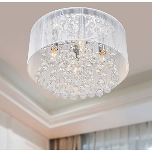 The Lighting Store Flushmount 4-light Chrome and White Crystal Chandelier by The Lighting Store