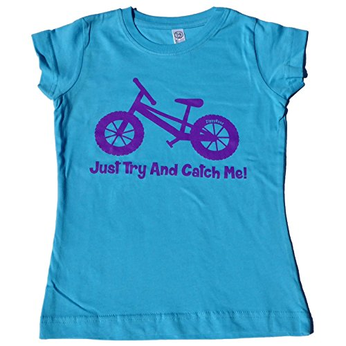 ZippyRooz Girls Toddler & Little Kids Pedal Bike Tee Shirt Just Try and Catch Me! (4T)