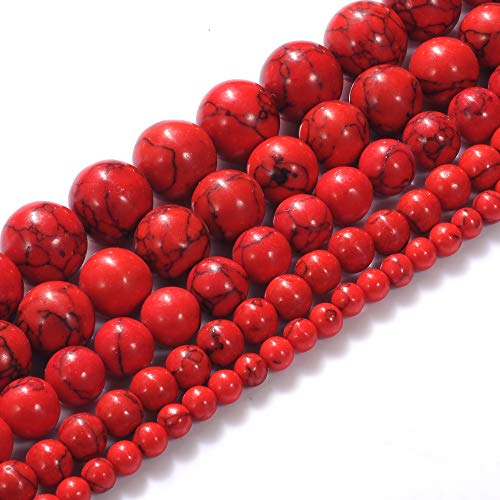 Natural Stone Beads 14mm Red Turquoise Gemstone Round Loose Beads Crystal Energy Stone Healing Power for Jewelry Making DIY,1 Strand 15""