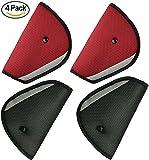 Seatbelt Adjuster 4 Packs Seat Belt Safety Covers for Kids Red +Black HONTECH
