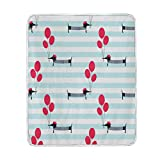ALAZA Home Decor Vintage French Style Dachshund Dog Holding Balloon Striped Blanket Soft Warm Blankets for Bed Couch Sofa Lightweight Travelling Camping 60 x 50 Inch Throw Size for Kids Boys Women