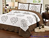Quilt king Size 3 pc Bedding Bed set / Bedspread / embroidered / 2 pillow sham