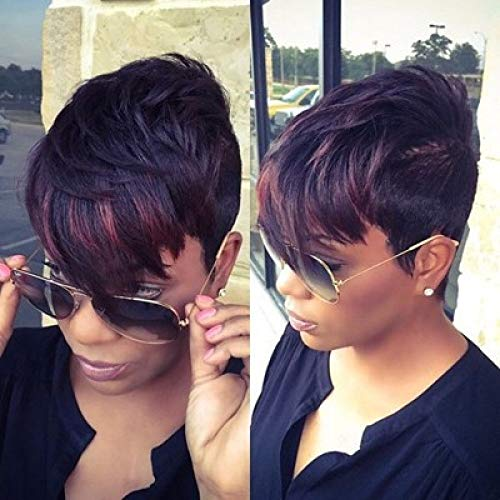 wp001 Short-haired Wig with Short Straight Hair, Black Wine, red Dyed Gradient Short Curly 1PACK -