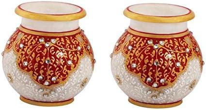 Buy Marble Round Flower Vase Pair Painted in Red Kuppi Work by ... on va flower, na flower, sd flower, pa flower, mn flower, vi flower, ve flower, ca flower, ls flower, dz flower, sc flower, uk flower,