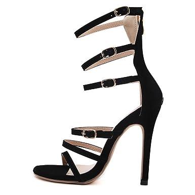 Frauen Schnalle Sexy Sandalen Stiletto Ausgeschnitten High Heels Damen Peep Toe Schuhe Prom Riemchen Pumps