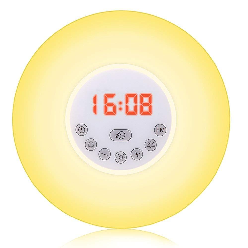 SunbuyHouse Sunrise Alarm Clock, Wake Up Light with Sunrise Sunset Simulation Snooze Function Night Light Colourful Bedside Lamp - 6 Nature Sounds, Multi Light Modes, Touch Control