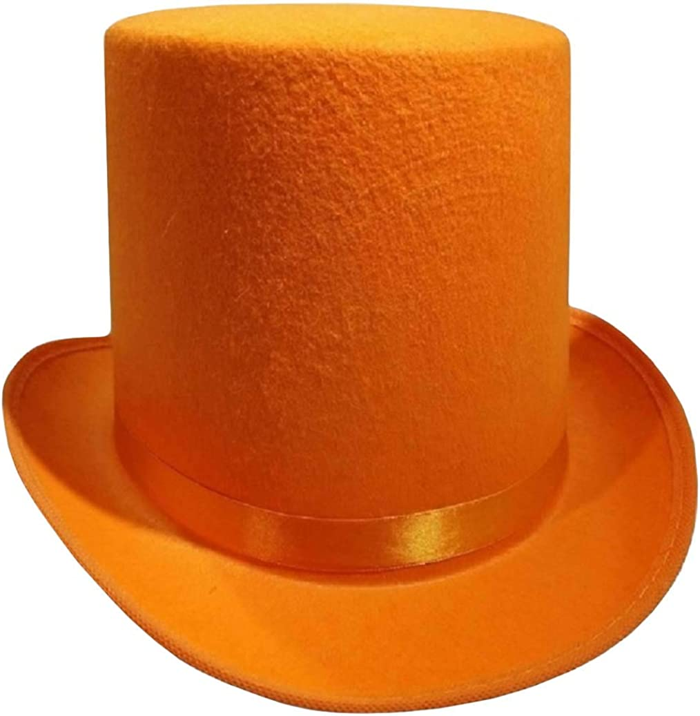 Nicky Bigs Novelties Tall Deluxe Felt Top Hat, Orange, One Size