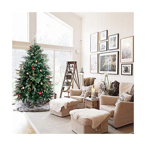 Verde Gotoll Albero di Natale Artificiale 150cm 1088 Rami,PVC Ago di Pino Effetto Realistico,Decorazione di Natale,Base Metallica