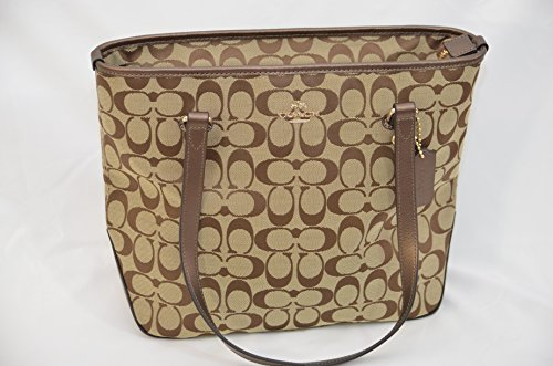 Coach 12cm Signature Zip Top Tote (Khaki & Bronze)