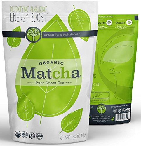 Organic Evolution - Japanese Matcha Green Tea Powder - USDA Certified, Authentic Japanese (Kyoto) Powder - Lattes, Baking, Recipes, Smoothies - Energy, Antioxidants [120g Value Size] (Organic Tee Power)