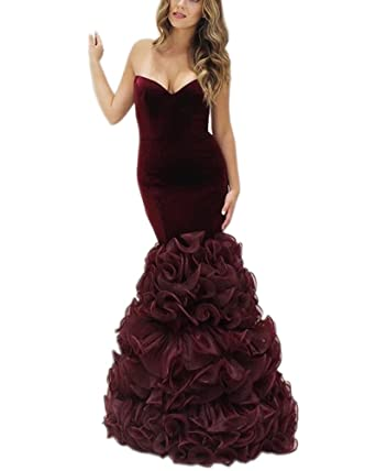 Kimbridal Burgundy Long Mermaid Prom Dresses 2017 Organza Ruffles Evening Gown