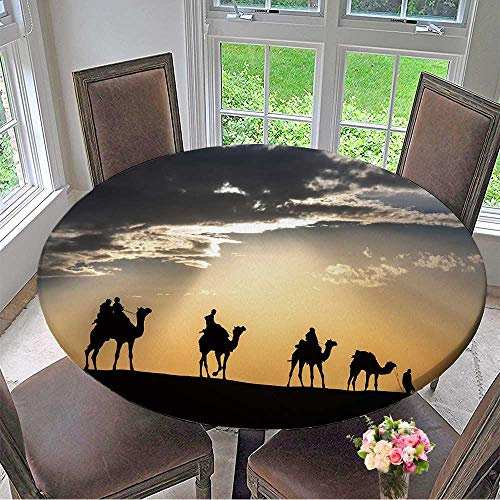 Mikihome Picnic Circle Table Cloths Camel Caravan Silhouette Through The Sand Dunes Lead Nose at Thar Desert India for Family Dinners or Gatherings 40