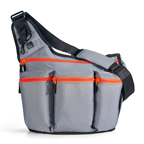 Image of the Diaper Dude Messenger Diaper Bag for Dads, Gray with Orange Zippers