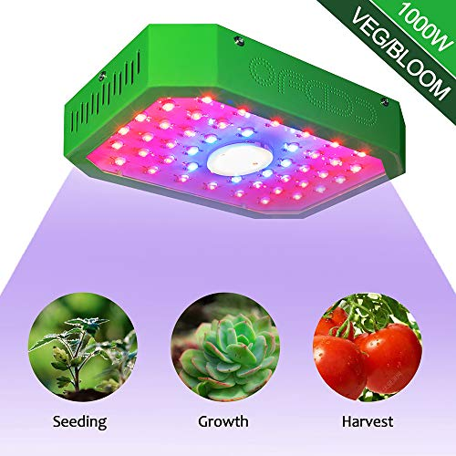 The 1000W LED Plant Grow Light,Full Spectrum with UV&IR,Double-Chips LED Growing Lamp with Bloom and Veg Switch for Greenhouse Hydroponic Indoor Plants vegs and Flowers