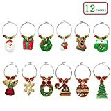 Wine Glass Charms - 12 Pack Christmas Themed Wine Glass Tags Rings - Drink Markers with Holiday Decorations