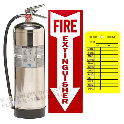 2.5 Gallon Water Pressure Fire Extinguisher, Strike First with Wall Bracket and Inspection Tag and Sign by Water (Image #5)