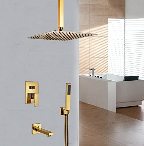 GOWE Ceiling Mounted Golden Polish 12-in Shower Faucet Bath Shower Set Single Handle 0