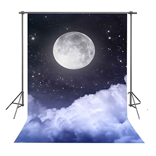 FUERMOR Background 5×7ft White Clouds Under Full Moon Photography Backdrop Space Theme Photo Props RQ003]()