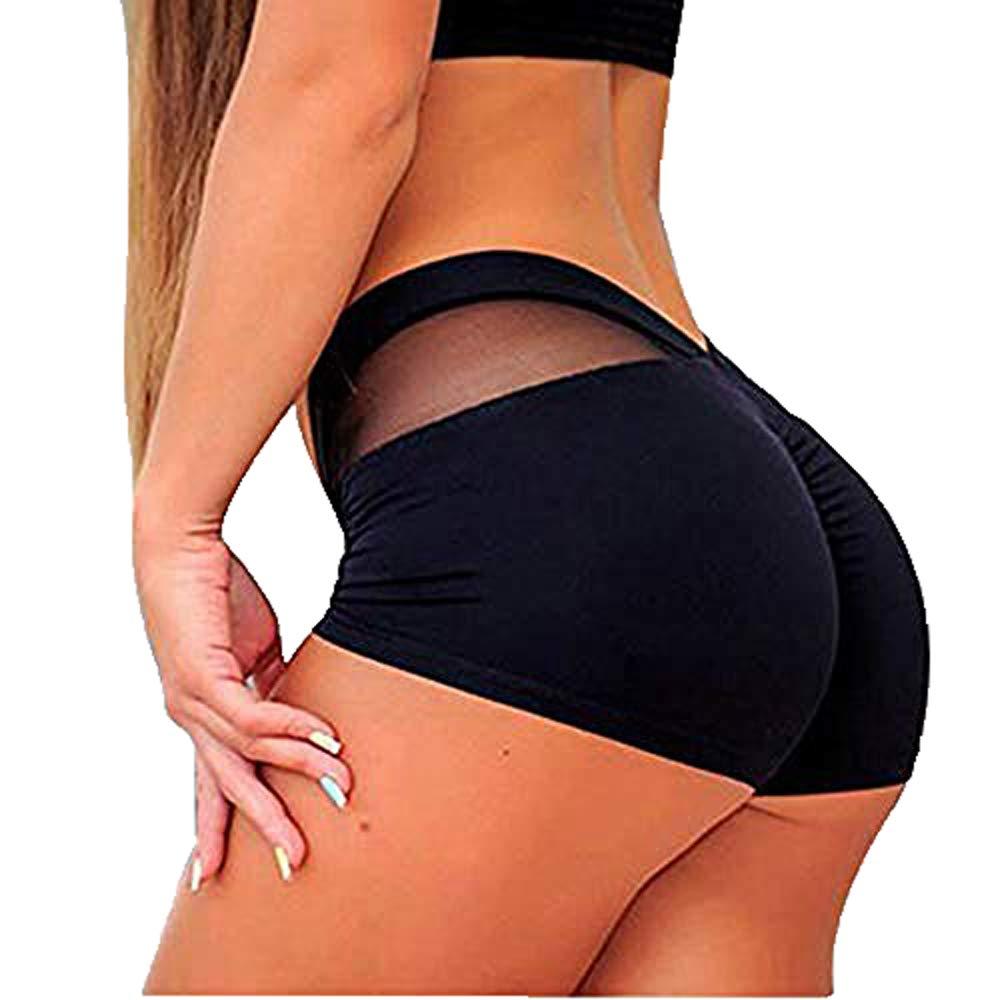 Summer Yoga Short Pants Womens,Tummy Control Sports Shorts Gym Workout Skinny Running Short Pants Trouser Yamally Black