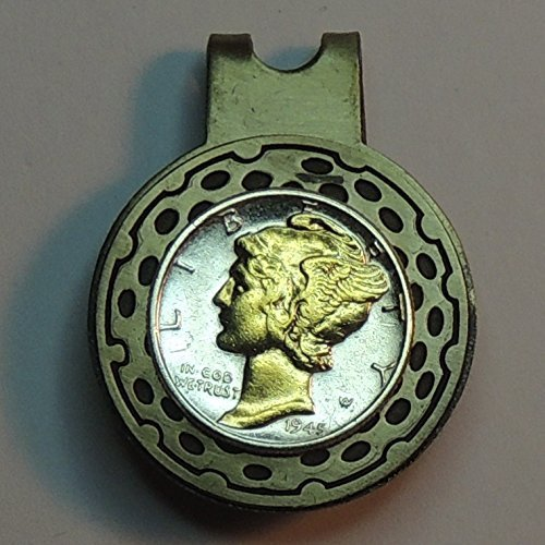Old  U.S. Mercury Dime, 2-Toned (Uniquely Hand done) Gold on Silver coin - Golf Ball Marker - Hat clips magnetic for men - women - boys - (Silver Roman Markers)