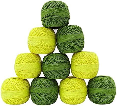 10 piezas Set Hilo amarillo Hilo Verde Tatting ganchillo algodón ...