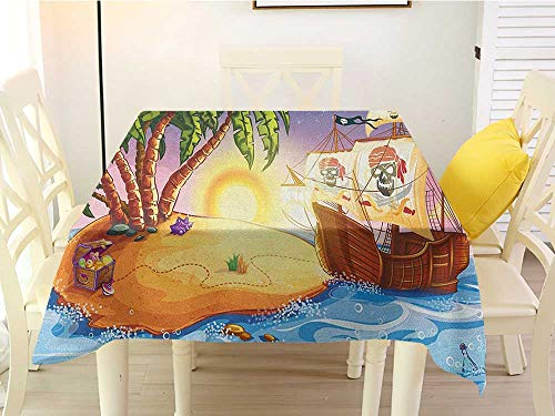 (L'sWOW Grid Square Tablecloth Pirate Ship Ghost Ship on Exotic Sea Near Treasure Island with Palm Trees and Open Chest Multicolor Wedding 36 x 36 Inch)