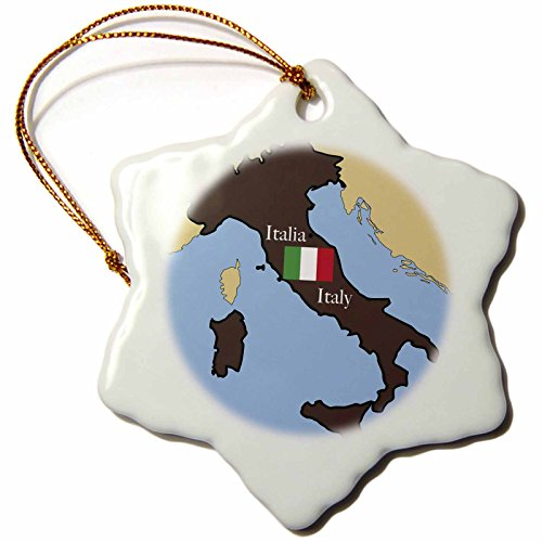 3dRose orn_37591_1 The Map and Flag of Italy with Italy Printed in English and Italian-Snowflake Ornament, Porcelain, 3-Inch