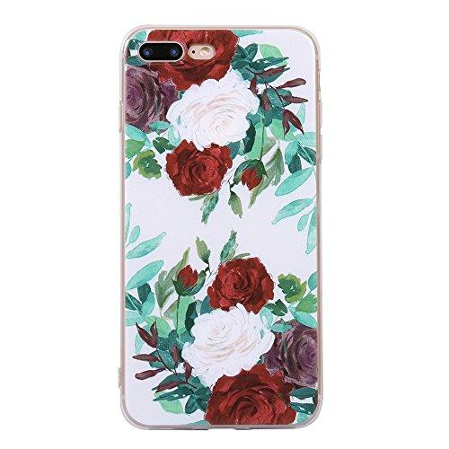 Funda iPhone 8 Plus,EUDTH Suave TPU Gel Funda Case Delgado Silicona Fundas Carcasa Espalda para iPhone 7 Plus / iPhone 8 Plus (5.5 Pulgadas) Auriculares Cat Rosa roja