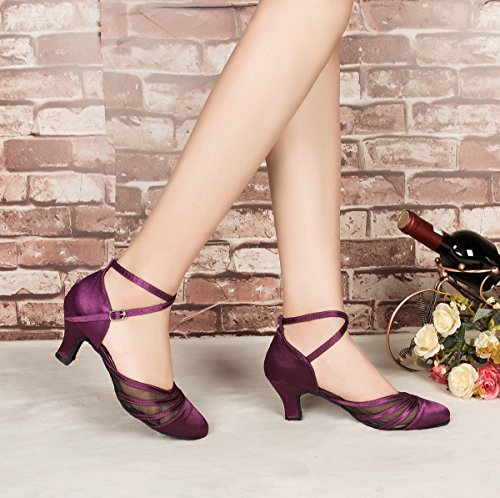 Satin UK L189 Dance Salsa MINITOO Women's Latin Mesh Shoes 8 Ballroom Purple fWPfInqcB