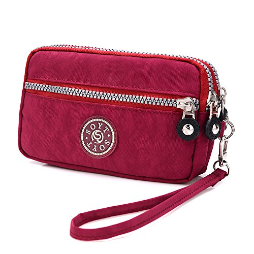 Bag Dual Zipper Phone Layers BUY Handbag Cell Pouch Red Wristlet Purse Waterproof Nylon SUNRAY Purple Clutch HUTpxC