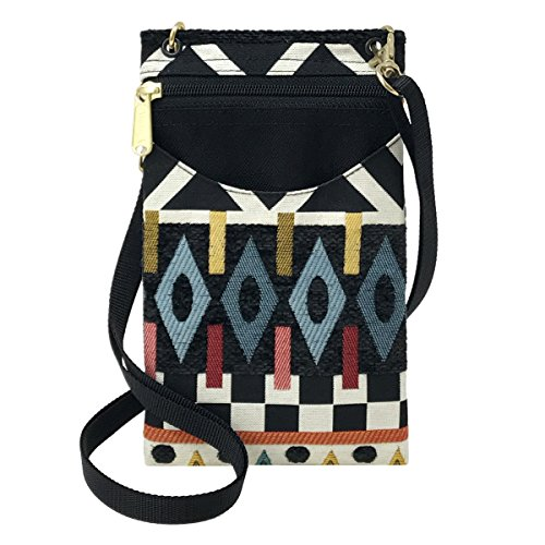 Danny K Women's Tapestry Crossbody Cell Phone or Passport Purse, Handmade in USA ()