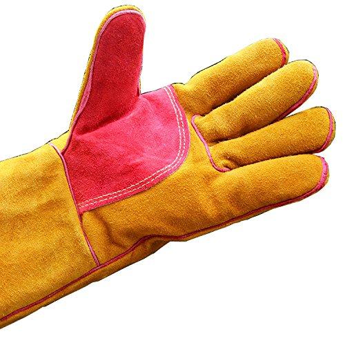Heat Resistant Gloves Welders Gauntlet Wood Burner Gloves Oven StoveGauntlets Long Length Cuffs 400mm(HCT16) HANSHI