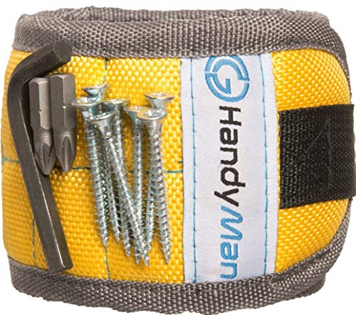 Magnetic Wristband for Holding Tools and Screws – with Strong Magnets, Lightweight, Adjustable Wristband to Hold Drill Bits and Nails – Convenient Solution for Professional and Home Use (yellow)