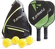 Primeful Pickleball Paddles Set Of 2 - Pickleball Paddle Sets with 4 Outdoor Balls, Sling Bag - Sturdy Graphit