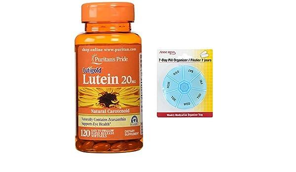 Amazon.com: Puritanos orgullo luteína 20 mg con zeaxantina-120 cápsulas con gratis 7 días plástico píldora organizadores: Health & Personal Care