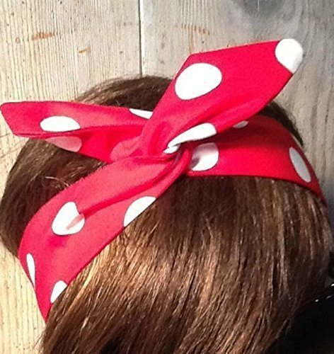 Wired Headband Dolly Bow Rosie the Riveter Print Wired Dolly bow Rockabilly Wire Scarf Headband We Can do It White Polka Dots on Red