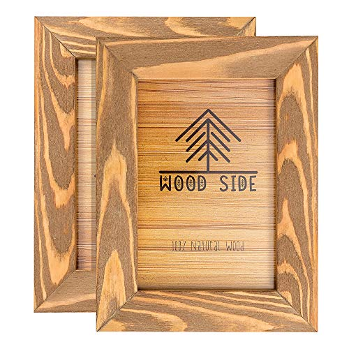 Rustic Wooden Picture Frame 4x6 Inch - Set of 2-100% Natural Eco Distressed Wood - Real Glass - Made for Wall and Table Top Display - ()