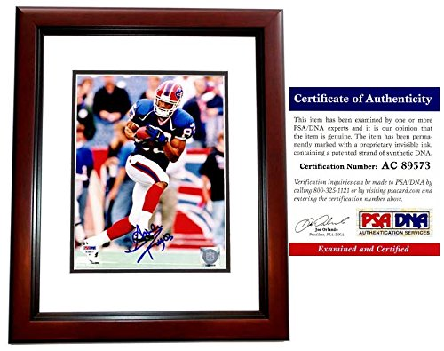 (Andre Reed Signed - Autographed Buffalo Bills 8x10 inch Photo MAHOGANY CUSTOM FRAME - PSA/DNA Certificate of Authenticity (COA))