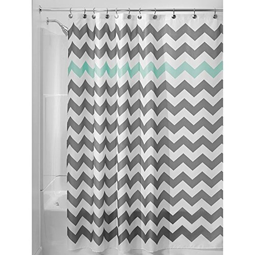 Grey Fabric Shower Curtain Chevron Striped Bathroom Polyester Curtains Durable Waterproof Mildew Bath Sets Home Accessories Set, Water-Repellent 70.86x 70.86inches (Mint Green and Grey)