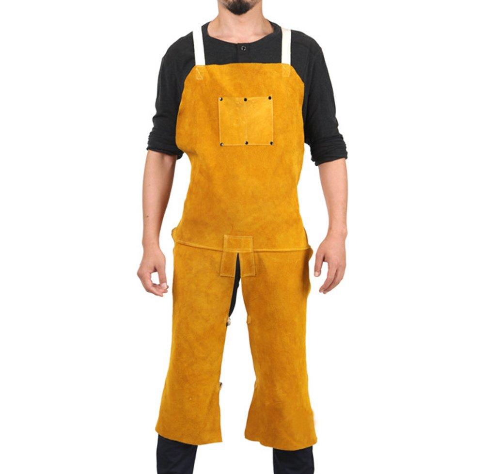 Genuine Cowhide Welding Apron Heavy-Weight Side Split Leg Fire Resistant Wear-resistant Welding Coat Jacket One Size fit Most Men For Workshop, Grinding, Carpentry HJ0001