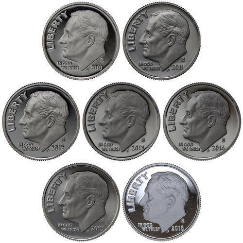 Deep Cameo Proof Roosevelt Dime - 2010-2016 S Roosevelt Dimes 90% Silver Gem Deep Cameo Proof Run 7 Coin Set