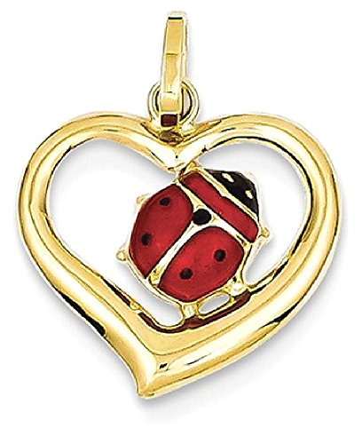 Yellow Enameled Ladybug (ICE CARATS 14k Yellow Gold Enameled Ladybug In Heart Pendant Charm Necklace Insect Fine Jewelry Gift Set For Women Heart)