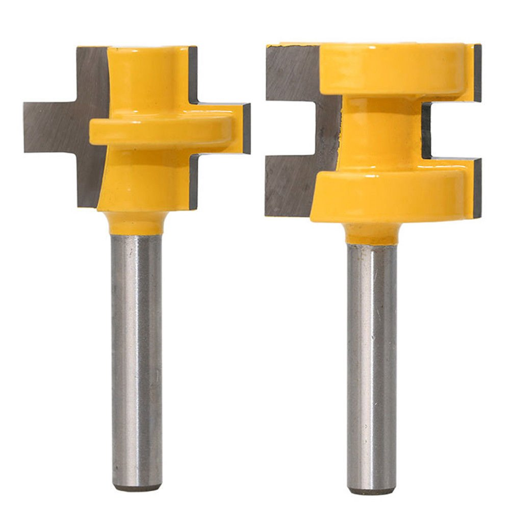 Yakamoz 1/4 Inch Shank Set of 2 Pieces Matched Tongue Groove Router Bit Set Woodworking Tool Carbide Milling Cutter