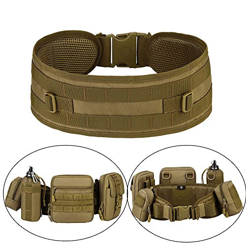 Huntvp MOLLE Tactical Belts Patrol MOLLE Belt with Mesh Lining for Shooting Airsoft Wargame Paintball Hunting (Coyote Brown)