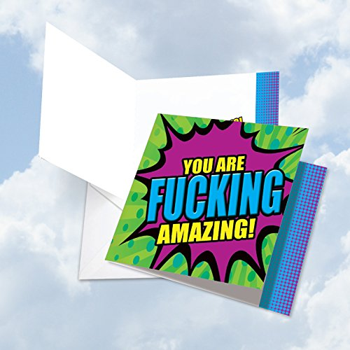 Tops Job Cards (JQ4965ACGG Jumbo Congratulations Square-Top Card: F-king Amazing Congratulations Featuring Bold Images of Comic Style Word Pop Greetings, with Envelope (Extra Large Size: 8.25