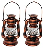 Shop4Omni LED Hurricane Lantern Emergency Hanging Light/Lamp w Dimmer - 8 inch (Bronze - 2 Pack)